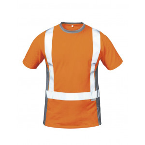 WARNSCHUTZ-T-SHIRT ORANGE/GRAU
